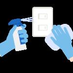 電気スイッチを消毒のイラスト