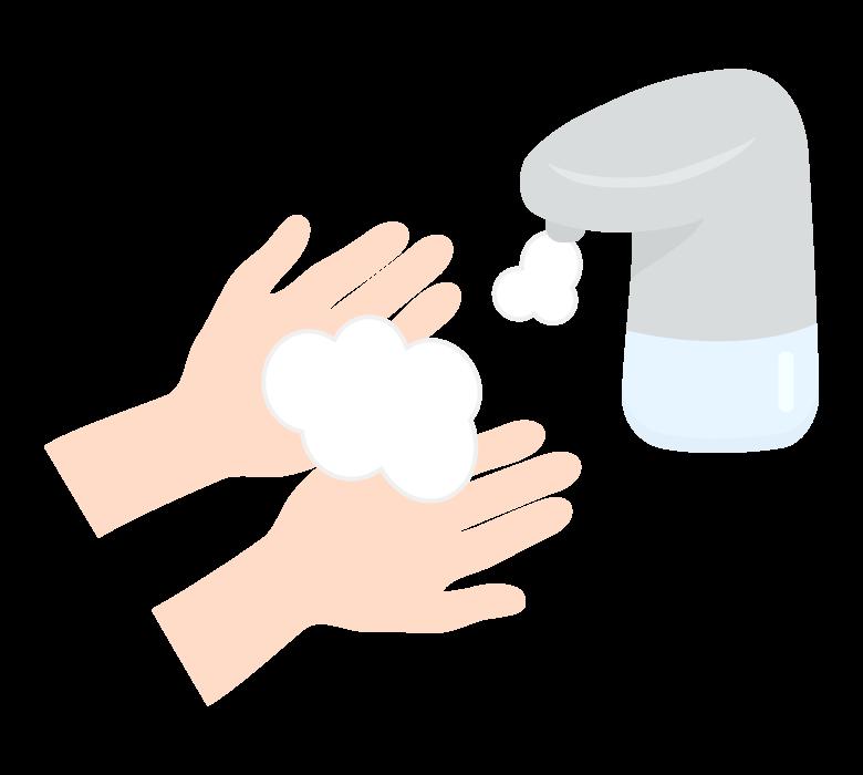 泡の消毒ディスペンサーのイラスト
