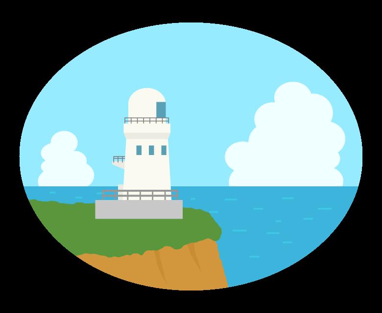 灯台と海の風景のイラスト