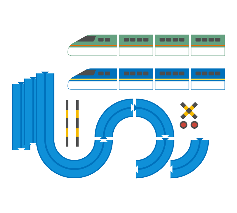 おもちゃの電車とレールのイラスト