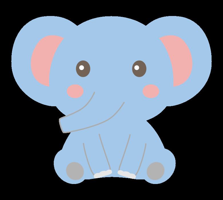 お座りしているかわいい象のイラスト