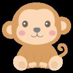 お座りしているかわいいお猿さんのイラスト