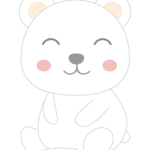 かわいい笑顔の白くまのイラスト