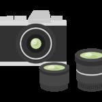 アンティークカメラとレンズセットのイラスト