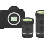 一眼レフカメラとレンズセットのイラスト