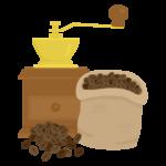 コーヒーミルとコーヒー豆のイラスト