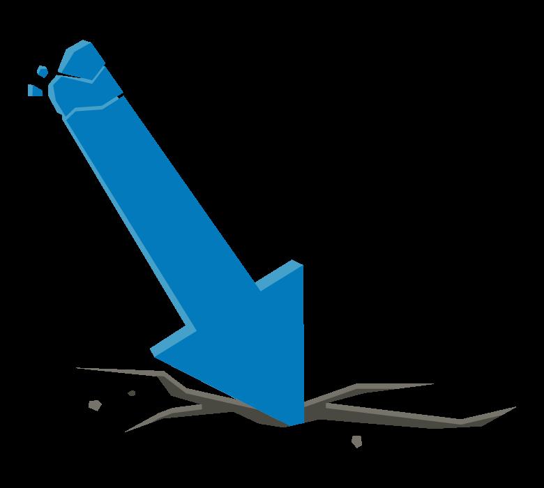 ダウン・下落の矢印のイラスト