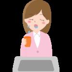 うがいをする女性会社員のイラスト