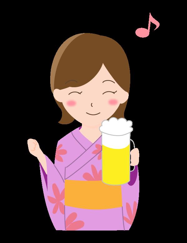 浴衣の女性とビールのイラスト