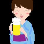 浴衣姿でビールを飲む女性のイラスト
