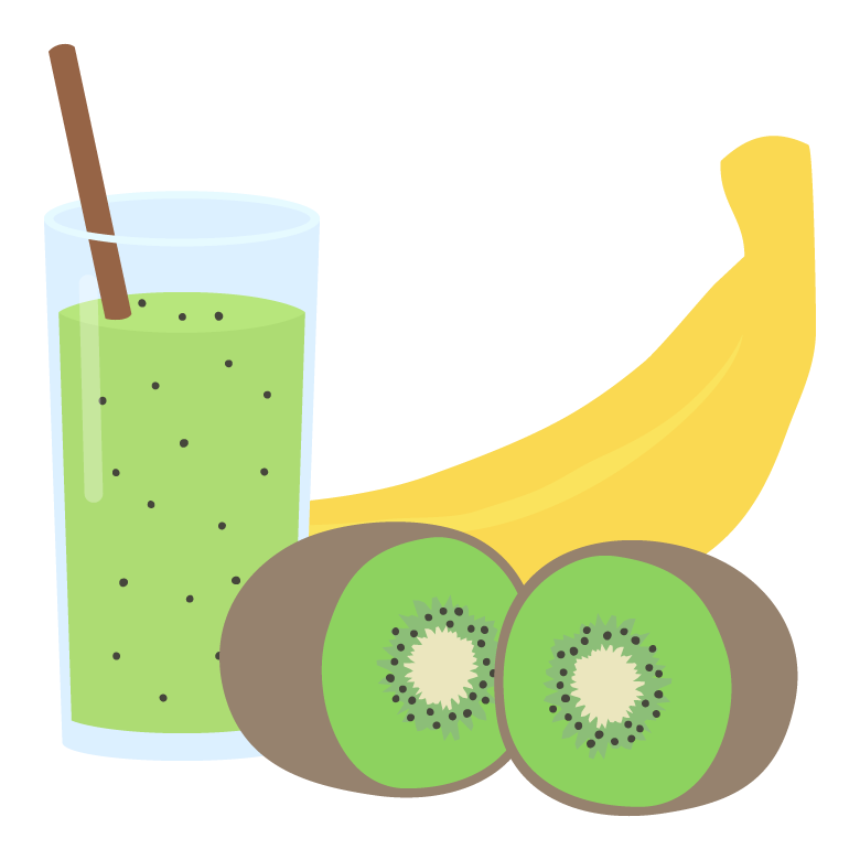 キウイとバナナのスムージーのイラスト