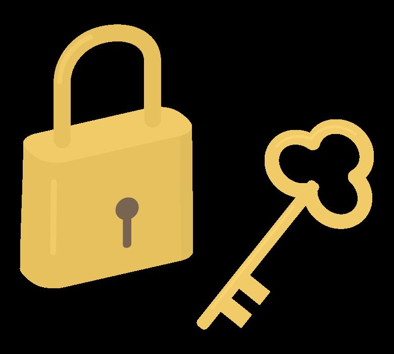 鍵と南京錠のイラスト