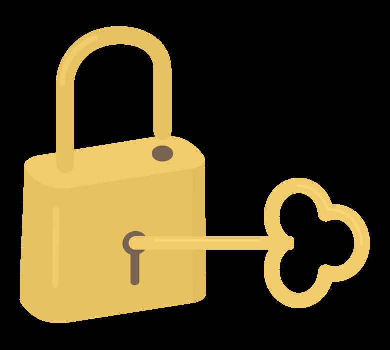 金のアンティークな鍵のイラスト