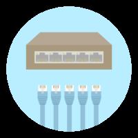 LANケーブルとスイッチングハブのイラスト