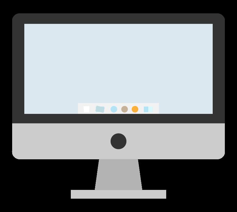 大型モニターの一体型パソコンのイラスト