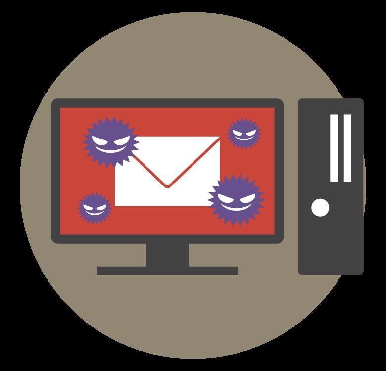 PCメールとウイルスのイメージイラスト