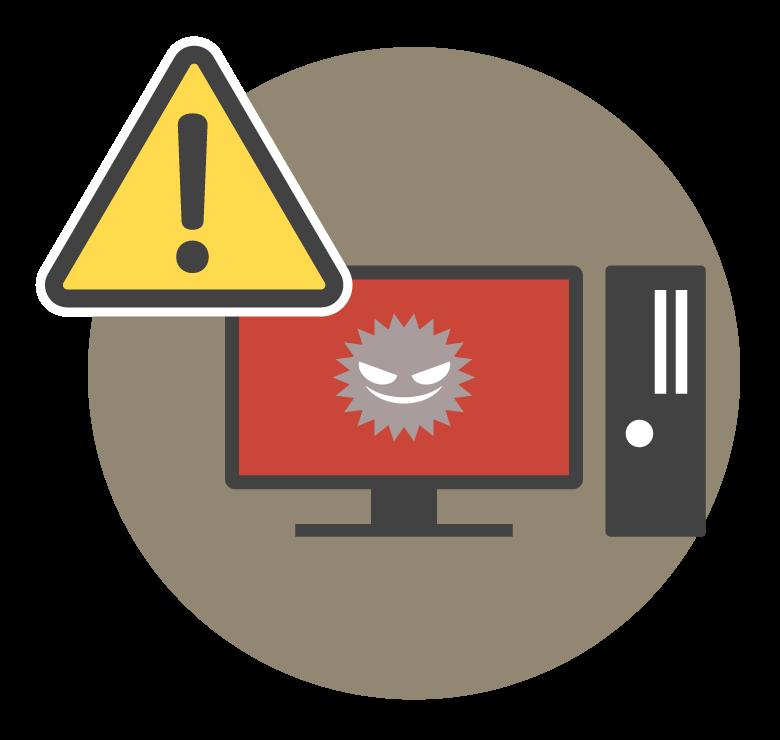PCウイルスのセキュリティーアラートのイラスト