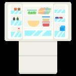 扉を開けた冷蔵庫と中身のイラスト