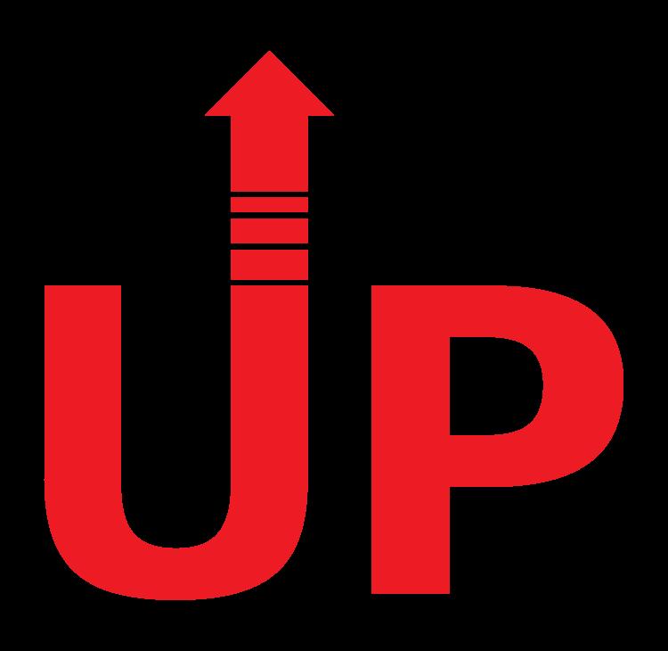 「UP」(アップ)の文字イラスト