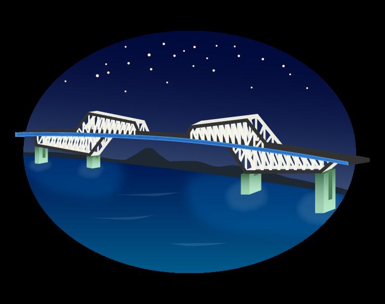 夜の東京ゲートブリッジのイラスト