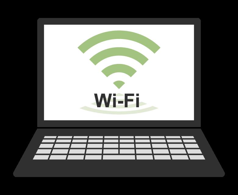 ノートPCとWi-Fiのイラスト