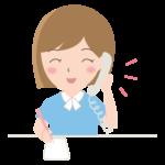 電話をしながらメモをする女性会社員のイラスト