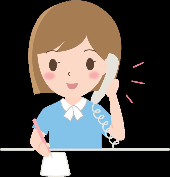 電話対応をする女性会社員のイラスト