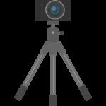 一眼レフカメラと三脚のイラスト