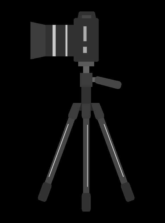 一眼レフカメラと三脚のイラスト(横アングル)