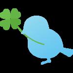四葉のクローバーと鳥のイラスト