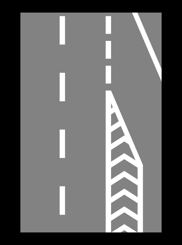 導流帯(ゼブラゾーン)と合流車線のイラスト