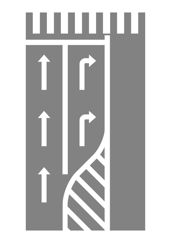 導流帯(ゼブラゾーン)と右折レーンのイラスト