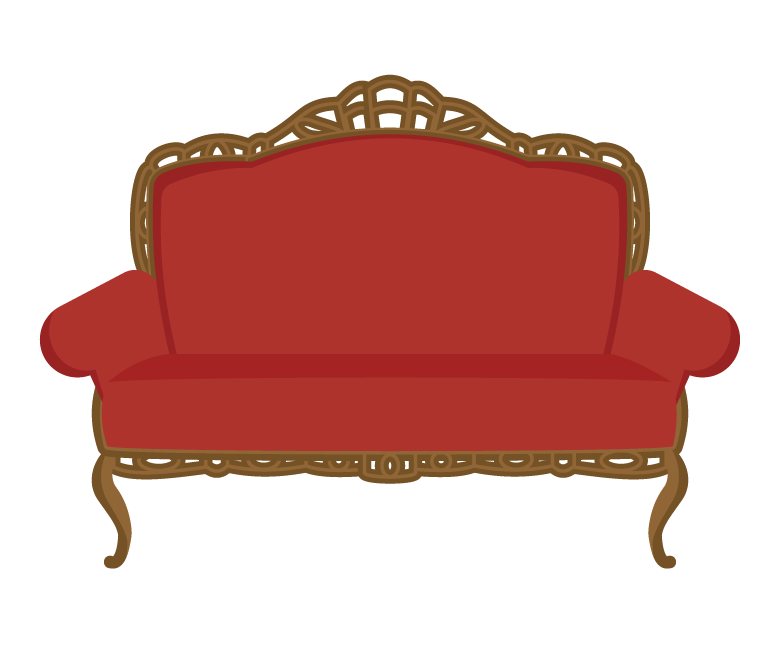 おしゃれな赤いソファーのイラスト