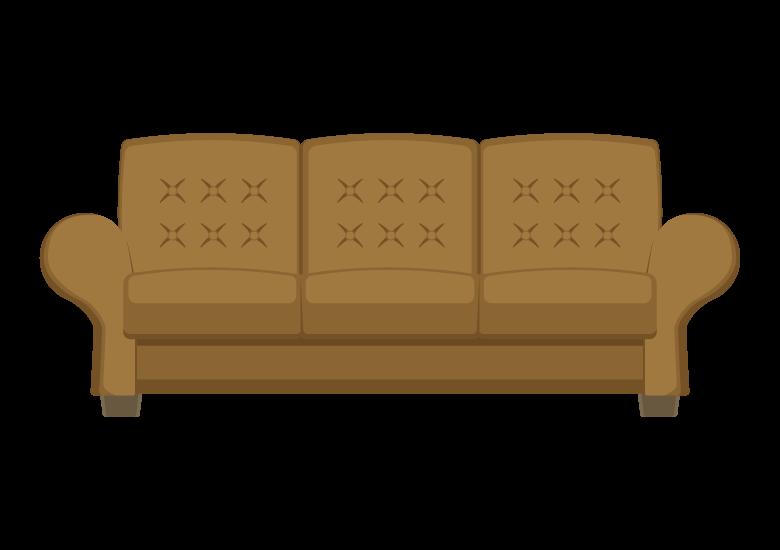レザーの三人掛けのソファーのイラスト