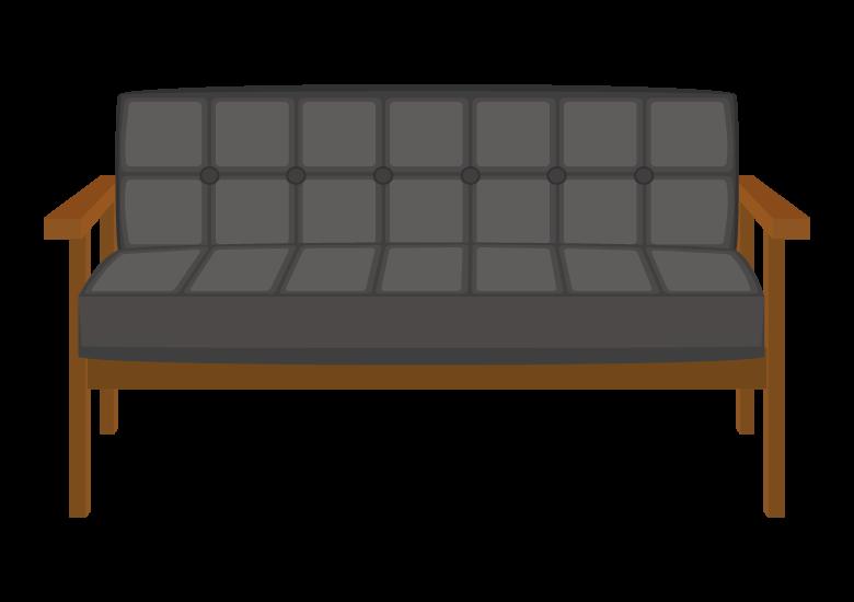 木製フレームのレザーのソファーのイラスト