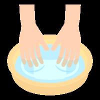 マスクを手洗いしているイラスト