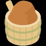 樽に入ったお味噌のイラスト