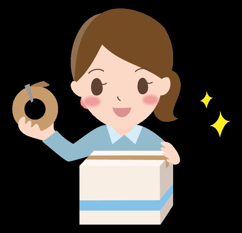 ダンボールに梱包する女性のイラスト