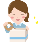 荷物を梱包している女性のイラスト