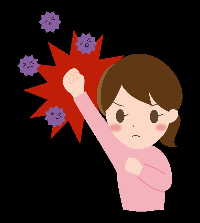 ウイルス・ばい菌を撃退(女性)のイラスト