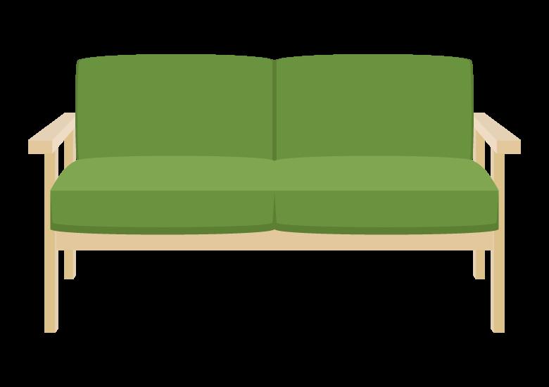 木製フレームのソファーのイラスト