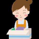 洋服を整理する女性のイラスト
