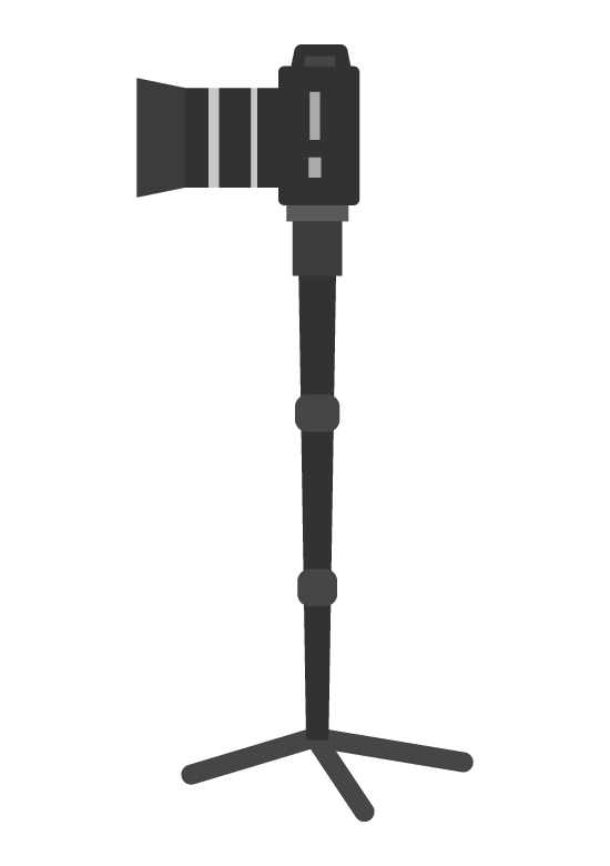 一眼レフカメラと一脚(横アングル)のイラスト