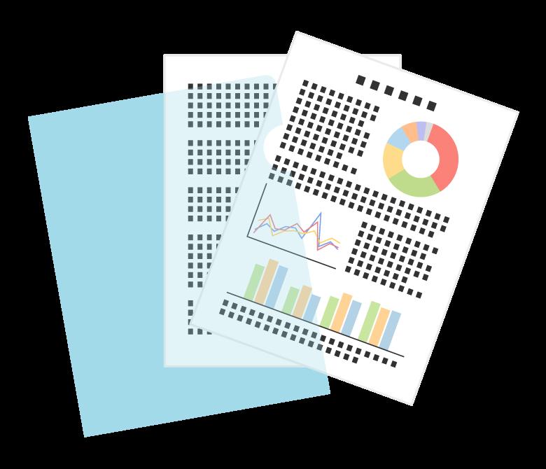 クリアファイルと資料・書類のイラスト