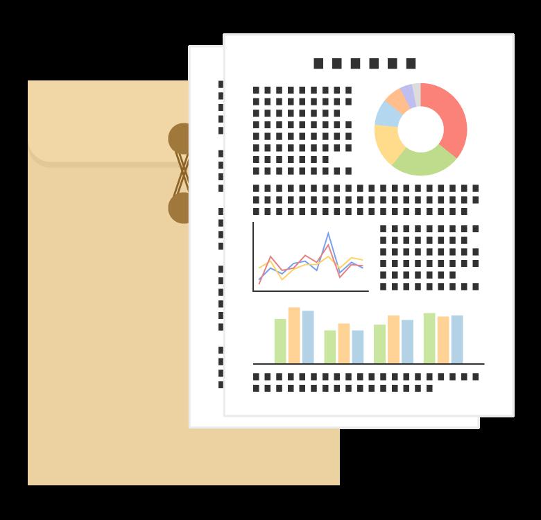 封筒と資料・書類のイラスト