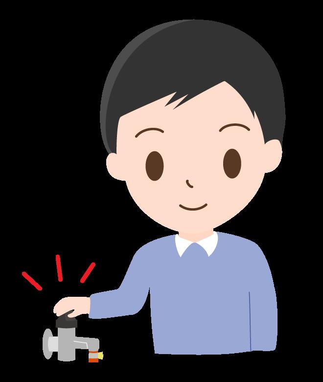 ガスの元栓を確認する男性のイラスト