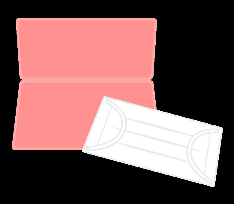マスクとマスクケース(ピンク色)のイラスト