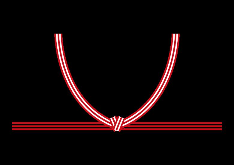紅白の結び(結び切り)のイラスト