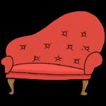 手書き風のおしゃれなデザインのソファーのイラスト