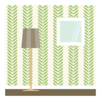 グリーンの植物の部屋の壁紙のイラスト